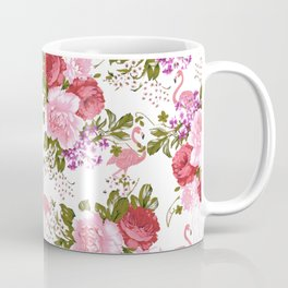 Tropical Pink Flamingo Red Pink Green Carnations Floral Coffee Mug