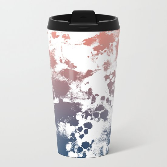 Ombre fade tie dye pastel trendy color way throwback retro palette 80s 90s style Metal Travel Mug