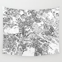 buildings Wall Tapestries featuring Berlin Map Schwarzplan Only Buildings by City Art Posters