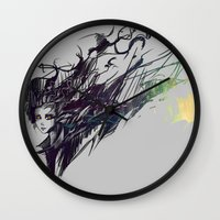 raven Wall Clocks featuring Raven by Ryky