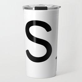 Letter S - Custom Scrabble Letter Tile Art - Scrabble S Initial Travel Mug