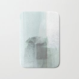 Pale Teal Blue Minimalist Abstract Painting Bath Mat