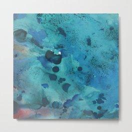 Modern Aqua Green Watercolor Abstract Metal Print