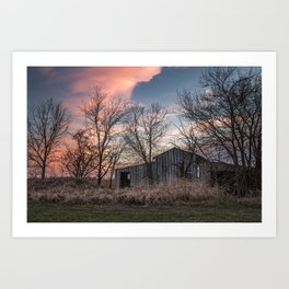 Evening Shade - Old Shed Hidden in Trees at Sunset in Kansas Art Print