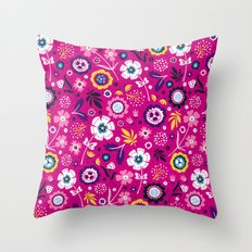 Folk Flowers (Magenta) Throw Pillow