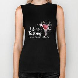 wine tasting is my sport wine Biker Tank