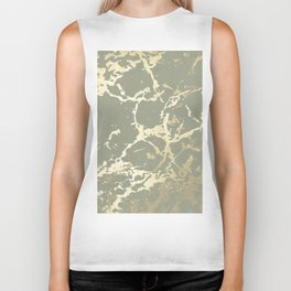 Kintsugi Ceramic Gold on Green Tea Biker Tank