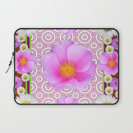 Floral Abundance Brown Shasta Daisy Pink Roses Abstract Art Laptop Sleeve