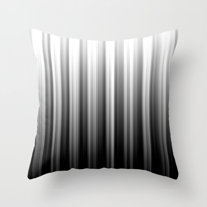 Black And White Soft Blurred Vertical Lines - Ombre Abstract Blurred Design Throw Pillow