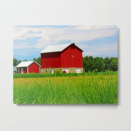 Red Barns and Field Metal Print