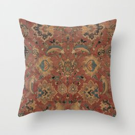 Flowery Boho Rug IV // 17th Century Distressed Colorful Red Navy Blue Burlap Tan Ornate Accent Patte Throw Pillow