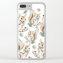 Autumn Squirrel Clear iPhone Case