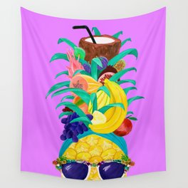 Chiquita Pineapple Purple Party Wall Tapestry