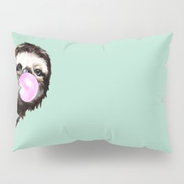 Bubble Gum Sneaky Sloth in Green Pillow Sham