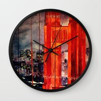 takmaj Wall Clocks featuring San Francisco by takmaj