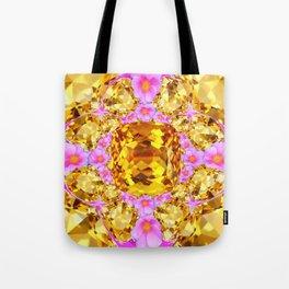 November Amber Color Citrine Gems & Pink Roses Tote Bag
