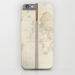 Vintage Map Print - A New Chart of the World On Mercator's Projection (1842) iPhone Case