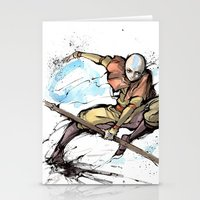 aang Stationery Cards featuring Aang from Avatar the Last Airbender sumi/watercolor by mycks