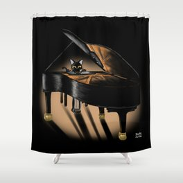 Piano and cat Shower Curtain