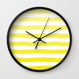 Sun Yellow Handdrawn horizontal Beach Stripes - Mix and Match with Simplicity of Life Wall Clock