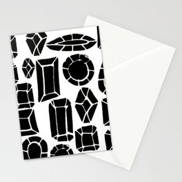 gemstone black and white Stationery Cards
