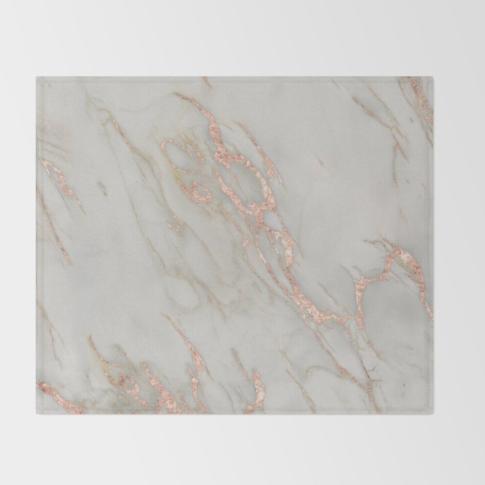 Marble Rose Gold Marble Metallic Blush Pink Throw Blanket By Stunning Blush Pink Throw Blanket