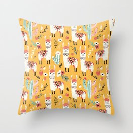 White Llama with flowers Throw Pillow