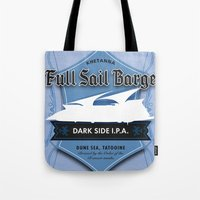 ale giorgini Tote Bags featuring Full Sail Barge Ale by Mike Sapora Demaine