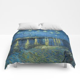 Starry Night Over the Rhone Comforters