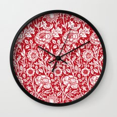 """William Morris Floral Pattern   """"Pink and Rose"""" in Red and White Wall Clock"""