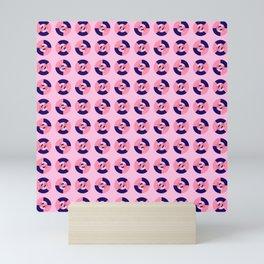 Simple geometric discs pattern pink and blue Mini Art Print