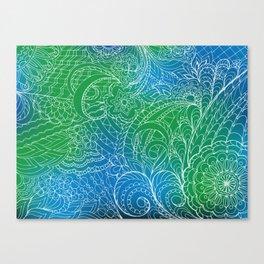 transparent white zen pattern green gradient Canvas Print