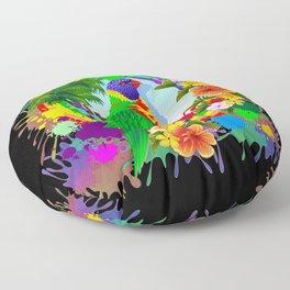 Rainbow Lorikeet Parrot Art Floor Pillow