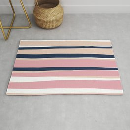 Festive, Abstract, Colorful Stripes, Pink and Blue Rug