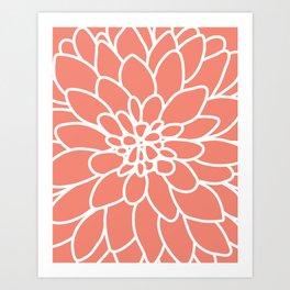 Coral Modern Dahlia Flower Kunstdrucke