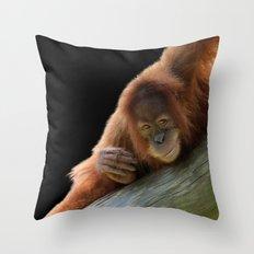 Smiling Young Orangutan Throw Pillow