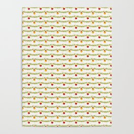 Green and Red Christmas Tree Branch Bauble Stripes Poster