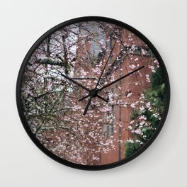 Cherry Blossoms in the Snow Wall Clock
