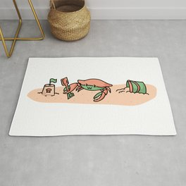 Cute crab on the beach cartoon illustration motif set. Rug