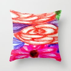 Roses and Daisies Throw Pillow