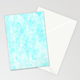 White winter forest- With snow covered trees- pattern on teal Stationery Cards