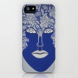 Woman's Visage blue face iPhone Case