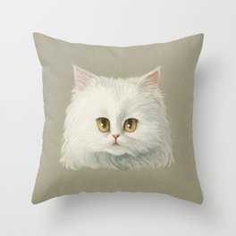 My White Cat's Face Throw Pillow