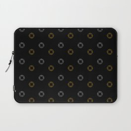 Silver and Gold Christmas Holiday Wreaths on Black Background Laptop Sleeve