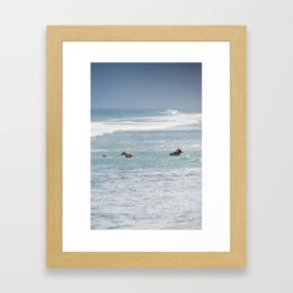 Horses having a bath Framed Art Print