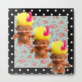Mentalembellisher Mad-Eyed Troll Triplets Flowers & Polka Dots Metal Print