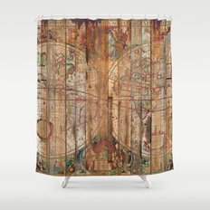 Reclaimed Wood Map Shower Curtain