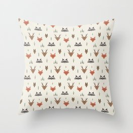 Minimalist Forest Animals Throw Pillow