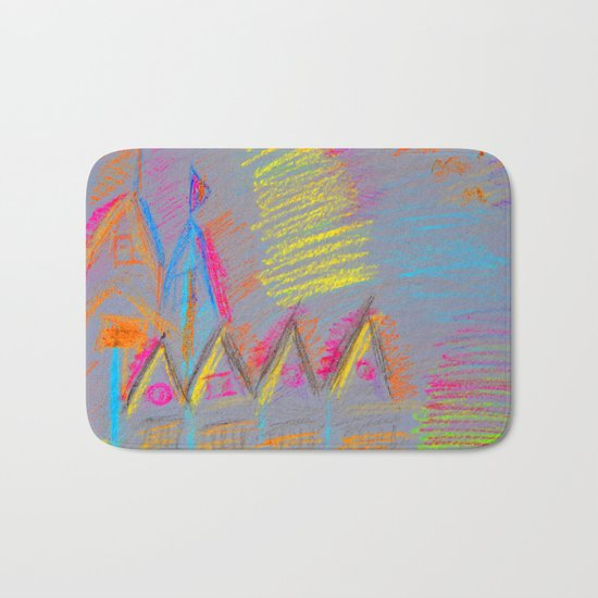 Colorful Village | Kids Painting Bath Mat