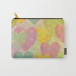 Pastel Colors Flying Hearts Carry-All Pouch